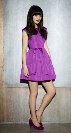 Zooey Deschanel's Purple dress from New Girl Season 2 Promo images. Outfit Details: http://wwzdw.com/z/2777/ #WWZDW