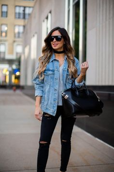 Street Style: Edgy Basics - Topshop Oversized Denim Jacket // Nordstrom Gray Tee // Topshop Black Jeans // Public Desire Lace-Up Velvet Heels // Vanessa Mooney Choker // Givenchy 'Antigona' Bag // Nasty Gal Sunglasses August 31st, 2016 by maria