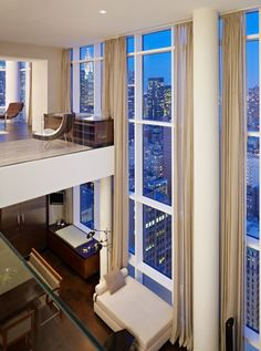 condo, windows, loft, home, city