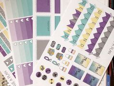 This listing includes 4 Sticker Sheets in 4 Beautiful Colors.  The Set Includes: *8 Ombre Boxes *12 Heart Checklists *22 MDN Headers *12 Flags *8