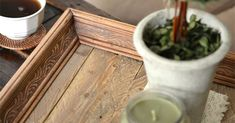 Check out this tutorial for making a reclaimed wood tray from a thrift store… Wood Picture Frames, Picture On Wood, Painted Candlesticks, Aging Wood, Wood Tray, Diy Home Decor Projects, Easy Diy Crafts, Paint Cans, Wood Crafts