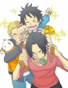 Ace, Sabo, Luffy, brothers, funny, cute, young, childhood, piggyback, school, uniform, bookbag, Bepo, stuffed animal, plush toy, mochi; One Piece