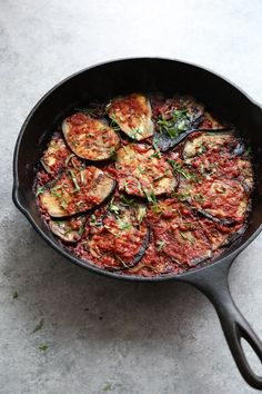 Imam Bayildi (Turkish Eggplant) is a healthy vegan twist on the usual breaded, fried eggplant casserole. The slices are covered in Mediterranean tomato sauce and baked. Vegetable Dishes, Vegetable Recipes, Vegetarian Recipes, Cooking Recipes, Healthy Recipes, Stuffed Eggplant Recipes, Healthy Eggplant Recipes, Healthy Food, Eggplant Casserole Recipe