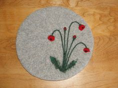 Wool Felted hotpad/trivet with needle felted Red by Susietoos, $30.00