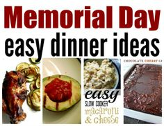 Easy Memorial day dinner ideas to keep the reason for the day in focus! Food Dishes, Main Dishes, Side Dishes, Freezer Meals, Easy Meals, Memorial Day Foods, Food Staples, Chocolate Cherry, Crockpot Recipes