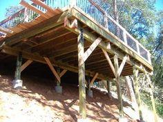 Building a 24 X 20 Deck on Steep Slope Deck Design Tool, Patio Design, Garden Design, Sloped Yard, Sloped Backyard, Deck Building Plans, Deck Plans, Building Ideas, House Building