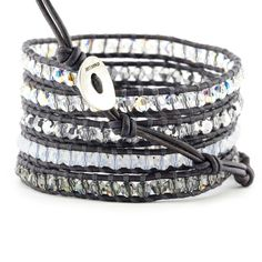Crystal AB Mix Wrap Bracelet on Pacific Blue Leather - Chan Luu $240