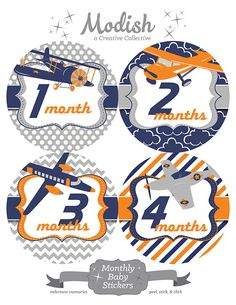 FREE GIFT, Baby Month Stickers, Boy, Airplanes, Monthly Baby Stickers, Baby Month Stickers, Milestones, Airplanes, Navy, Gray, Orange