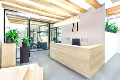 Great Commercial Office Interior Design Ideas with Best Ceiling Unit: Wonderful Wooden Material Furniture And Concrete Floor Commercial Office Interior Design Ideas With Modern Rustic Decoration ~ relyme.com Office