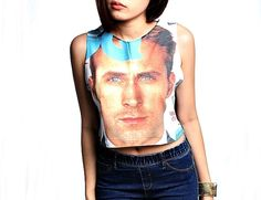 Ryan Gosling Cropped Tank Crop Top    More Style Click To Shop Home  http://www.etsy.com/shop/SummerTimeShopOnline    Size S  ◈ Bust ◈ 28 -