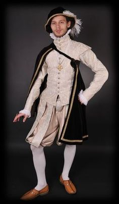 Nobleman's Renaissance clothing influenced by Spanish fashion. Middle of the 16th century.