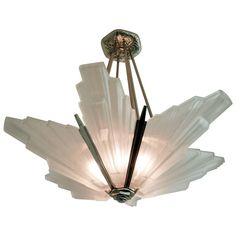Amazing Reproduction French Art Deco Six Panel Chandelier By Hanots From A Unique Collection