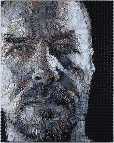 Kunstenaars kunnen met het zwerfvuil portretten maken van vervuilers.