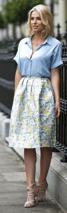 Yellow And Blue Floral Midi Skirt