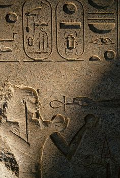 Image of hieroglyphics on temple wall. Karnak Temple. Egypt. by Hugh Sitton