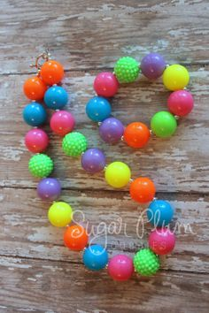 neon chunky NECKLACE AND BRACELET, Hot pink, Fluorescent green, turquoise, lime, bright orange, bright blue, Neon jewelry for girls, party