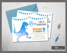 We design it you print it Customized Dinosaur Birthday Invitation is supplied to you as a digital printable file or could be used as a digital invitation.  Design is personalized with your party details Emailed to you as a printable JPEG file No limit on the quantity you may print as many as you need 4x6 or 5x7 Please disregard the instant download link Etsy sends. File is customized and emailed to you within 24 to 48 hours  After ordering please state your personalized information via Etsy…