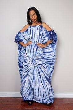 Tie Dye Dress / Shibori Summer Dress / Halter Dress/ by Nuichan Latest African Fashion Dresses, Latest Dress, White Fashion, European Fashion, Cotton Long Dress, Marine Uniform, Blue And White Dress, Tie Dye Dress, Outfits