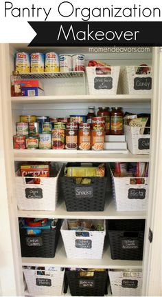 But with straight sided baskets so less wasted space. A disorganized pantry is a kitchen nightmare. Turn your cluttered kitchen pantry (or kitchen cabinets) into a storage dream with these great pantry organizers. Small Pantry Organization, Organization Hacks, Organized Pantry, Pantry Ideas, Small Pantry Closet, Organize Small Pantry, Organizational Goals, Pantry Diy, Organization For Kitchen Cabinets