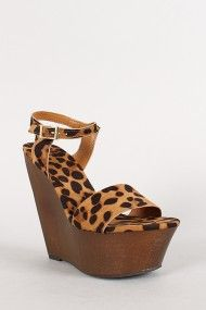 Leopard Ankle Strap Buckle Open Toe Platform Wedge
