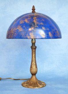 Einzelstueck-original-Jugendstil-Manufaktur-Messingleuchte-Kunstglas-1920-Messing  EUR 224,10