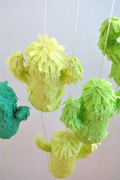 DIY mini pinatas to create decor at a fiesta party Flower Bookey, Flower Film, Cactus Flower, Flower Pots, Fiesta Decorations, Engagement Party Decorations, Mini Pinatas, Mexican Fiesta Party, Tissue Paper Crafts
