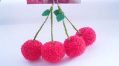 Red Cherry Bomb yarn pom pom Earrings, rockabilly, fruit, tropical, summer, kitsch, retro, harajuku fashion