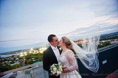 Brisbane Wedding Photography - Bride and Groom with Brisbane City views, Christopher Thomas Photography St Margaret, Brisbane City, Lace Bodice, Looking Stunning, Wedding Gowns, Groom, Wedding Photography, Club, Bride