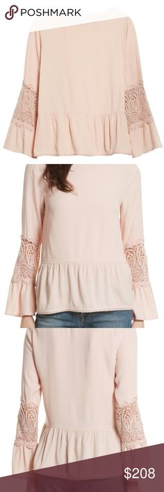 """NWT Joie Pink Emelda Bell Sleeve Blouse Brand new adorable blouse from Joie! Pale-pink crepe with lacy insets, flouncy bell cuffs and a fluttery peplum hem. So soft and lovely!  25 1/2"""" length Jewel neck Long sleeves 100% rayon with 100% cotton contrast Dry clean Imported  **will post actual product photos soon** Joie Tops Blouses"""