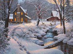 Thomas Kinkade: Farmhouse in Winter Vintage Farm, Vintage Winter, Christmas Scenes, Christmas Art, Christmas Houses, White Christmas, Thomas Kinkade Art, Kinkade Paintings, Art Thomas