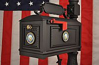 "Navy Mailbox  Our military mailboxes for Navy Service Members and Veterans are customized with brass medallions featuring the Navy crest. Rust-Proof, Cast Aluminum Construction. Stainless Steel Hardware Finish: Electrostatic Powder Coat - Black One Piece Post - 64"" tall Slide or Flag Alert - Both Included Mailbox Internal Dimensions 8 x 8 x 17 Inches Total Weight 55 Pounds 3 (Service Branch) Solid Brass Medallions with raised letter color backfill"