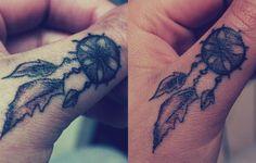 Dreamcatcher tattoo finger but needs color