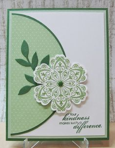 handmade card ... clean and simple .... monochromatic greens ... luv the half circle panel that reaches just mid point in the card ... lovely stamped, punched and popped up fantasy flower from Flower Bunch ... Stampin' Up!