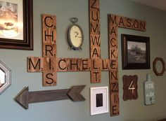 Family Name Scrabble Wall Decor by TheBoardBrunette on Etsy https://www.etsy.com/listing/237581368/family-name-scrabble-wall-decor
