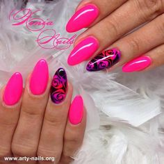 - Haare & Nails - Famous Last Words Bright Nail Art, Funky Nail Art, Funky Nails, Glam Nails, Neon Nails, Pink Black Nails, Cute Pink Nails, Love Nails, Pretty Nails