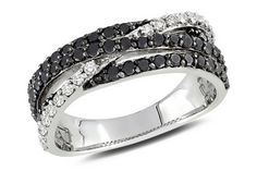 1 Carat Black and White Diamond Sterling Silver Ring...I LOVE BLACK DIAMONDS!