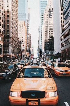 Iconic yellow cab in New York City · Big city life ·