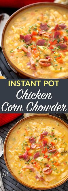 Instant Pot Chicken Corn Chowder is hearty and delicious with lots of chicken, corn, potatoes, bacon, and other great flavors. This pressure cooker chicken corn chowder is a great comfort food soup. simplyhappyfoodie.com #instantpotrecipes #instantpotsoup #instantpotcornchowder #pressurecookercornchowder