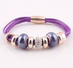 Beaded PU Leather Bracelet w/Magnetic Clasp