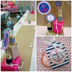 Anchor baby shower pink & navy