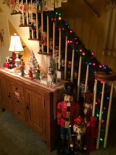 Our stairway and large nutcrackers