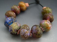Naos Glass - Lavish Garden Set - Made To Order Handmade Lampwork Beads - SRA. $100.00, via Etsy.