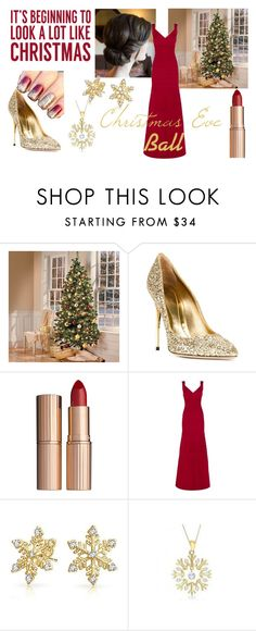 """Christmas Eve Ball"" by echoia on Polyvore featuring Sebastian Milano, Charlotte Tilbury, Hervé Léger, Bling Jewelry, Allurez, Sixtrees, Christmas, gold, red and gown"