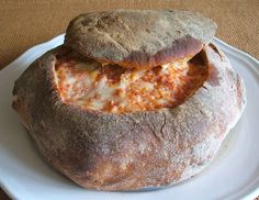 Not a soup bow, but bread filled with cheese & choriço, truly a portuguese havenly food