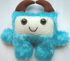 Furry monster plush in aqua faux fur  Angel by DoodleDollies, $39.95