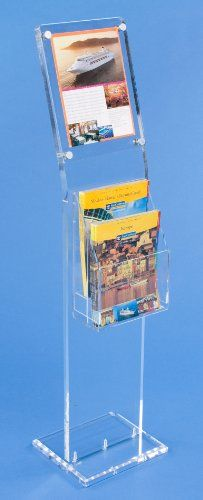 Floor Stand for 8.5x11 Poster, Includes 2-Tier Literature Rack with Adjustable Pockets, Silver Aluminum Standoffs Holds Signage in Place - Clear Acrylic Displays2go http://www.amazon.com/dp/B00A9XPEK4/ref=cm_sw_r_pi_dp_je-7ub0XF4CZZ