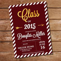 maroon and gold graduation invitation red and gold graduation invitation instant download edit file with adobe reader print at home - Graduation Invitations Pinterest