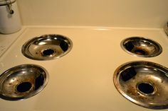 How to clean stove drip pans overnight.