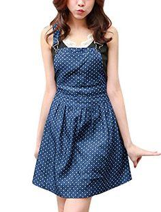 Allegra K Women Dots Pattern Denim Overall Dress Dark Blue XL Allegra K http://www.amazon.com/dp/B00ORQ1854/ref=cm_sw_r_pi_dp_qIrZwb0AK3SFY