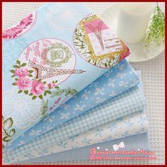 Super deal ! 5 piece 150*50cm  Blue Series cotton poplin fabric fat quarter bundle clothes bedding sewing patchwork  Tilda #Affiliate